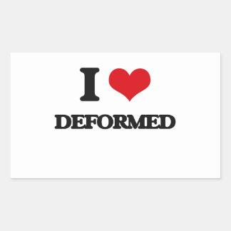 I love Deformed Rectangle Sticker