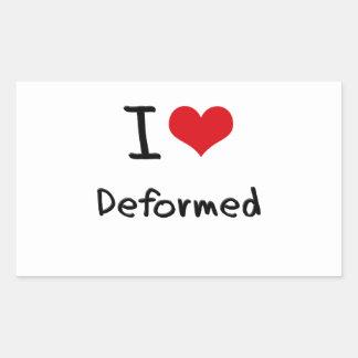 I Love Deformed Rectangular Stickers