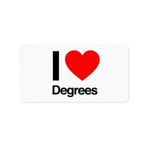 i love degrees address label
