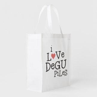 I Love Degu Pile Reusable Grocery Bag