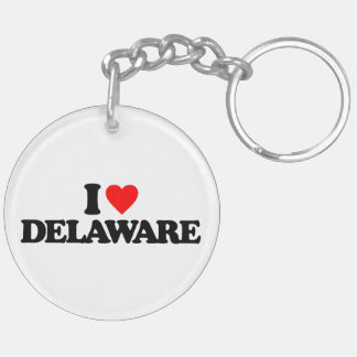 I LOVE DELAWARE Double-Sided ROUND ACRYLIC KEYCHAIN