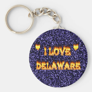 I love delaware fire and flames basic round button keychain
