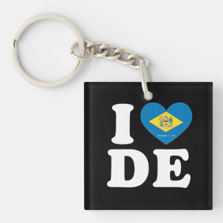 I LOVE DELAWARE - Heart Design -.png Single-Sided Square Acrylic Keychain