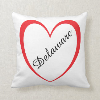 I Love Delaware Polyester Throw Pillow