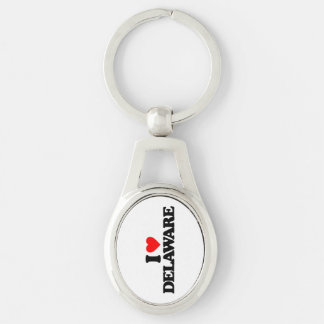 I LOVE DELAWARE Silver-Colored OVAL METAL KEYCHAIN