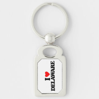 I LOVE DELAWARE Silver-Colored RECTANGULAR METAL KEYCHAIN