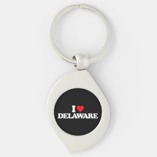 I LOVE DELAWARE Silver-Colored SWIRL METAL KEYCHAIN