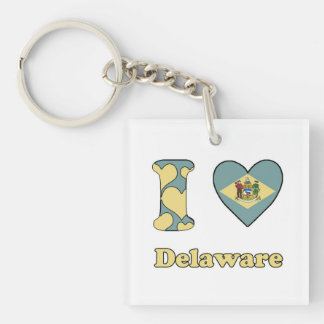 I love Delaware Single-Sided Square Acrylic Keychain