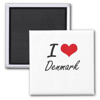 I love Denmark 2 Inch Square Magnet