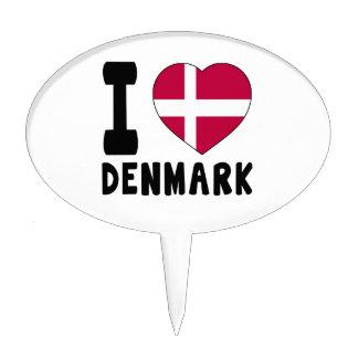 I Love Denmark Cake Toppers