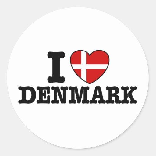 I Love Denmark Classic Round Sticker