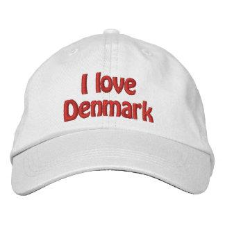 I Love Denmark Embroidered Baseball Cap