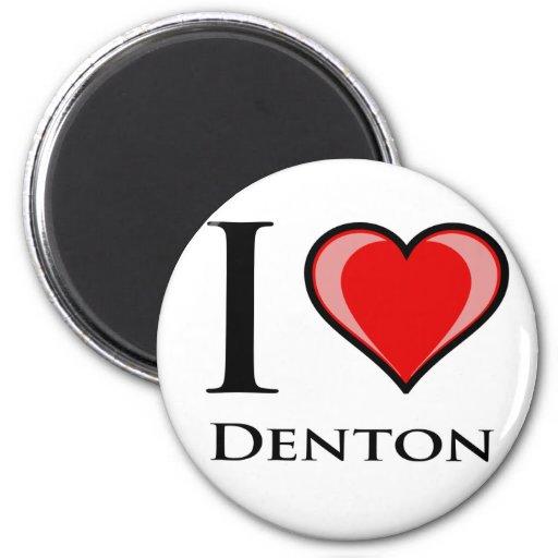 I Love Denton 2 Inch Round Magnet