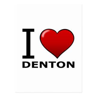 I LOVE DENTON,TX - TEXAS POSTCARD