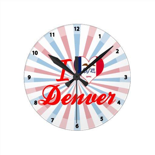 I Love Denver, Iowa Round Wallclock