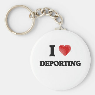 I love Deporting Basic Round Button Keychain