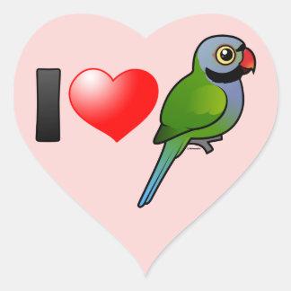 I Love Derbyan Parakeets Heart Sticker