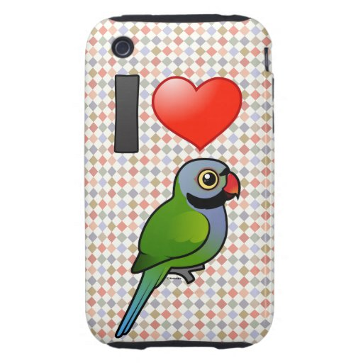 I Love Derbyan Parakeets iPhone 3 Tough Covers