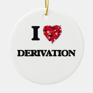 I love Derivation Double-Sided Ceramic Round Christmas Ornament