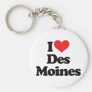 I Love Des Moines Basic Round Button Keychain