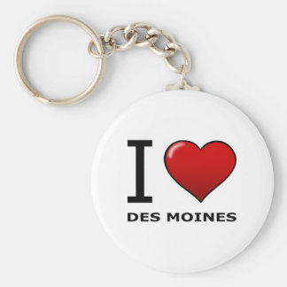 I LOVE DES MOINES,IA - IOWA BASIC ROUND BUTTON KEYCHAIN
