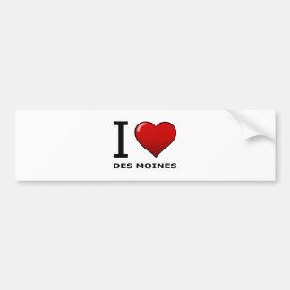 I LOVE DES MOINES,IA - IOWA CAR BUMPER STICKER