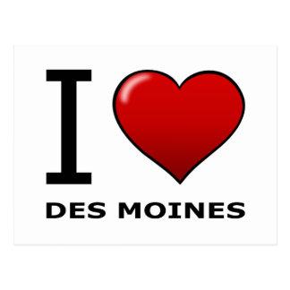 I LOVE DES MOINES,IA - IOWA POSTCARD