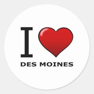 I LOVE DES MOINES,IA - IOWA CLASSIC ROUND STICKER