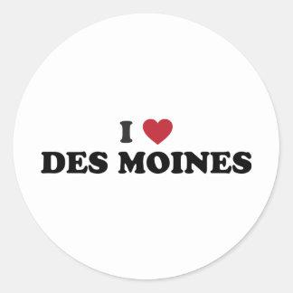 I Love Des Moines Iowa Classic Round Sticker