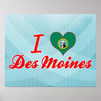 I Love Des Moines, Washington Posters