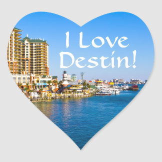 I Love Destin Florida Heart Shaped Stickers