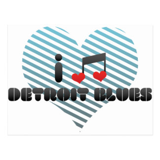 I Love Detroit Blues Postcard