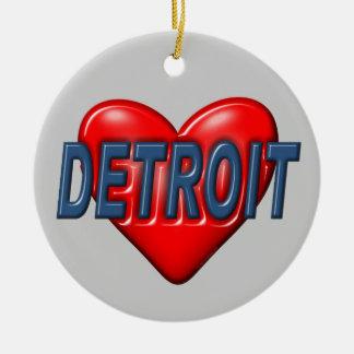 I Love Detroit Ceramic Ornament