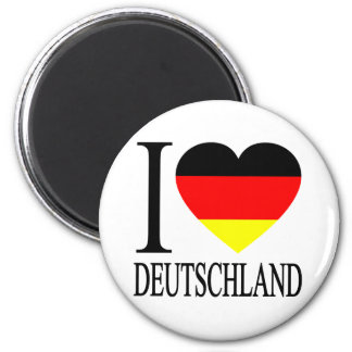 I Love Deutschland Germany German Flag Heart 2 Inch Round Magnet