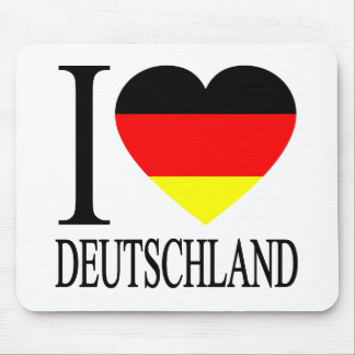 I Love Deutschland Germany German Flag Heart Mouse Pad