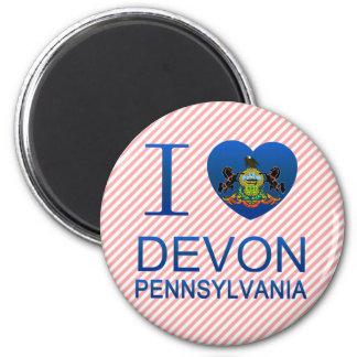 I Love Devon, PA 2 Inch Round Magnet