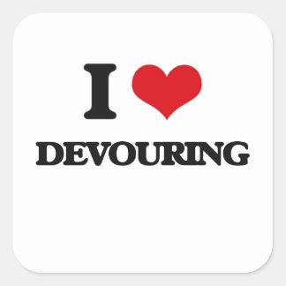 I love Devouring Square Stickers