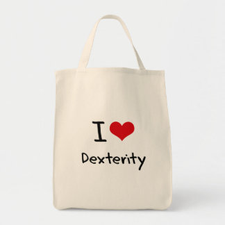 I Love Dexterity Grocery Tote Bag