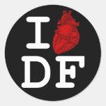 I Love DF Classic Round Sticker