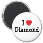 I love Diamond heart T-Shirt Fridge Magnets