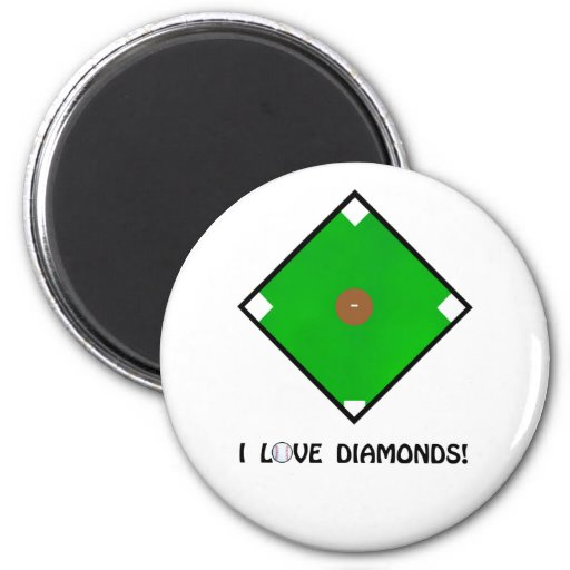 """I Love Diamonds"" Baseball Shirts and Gifts 2 Inch Round Magnet"