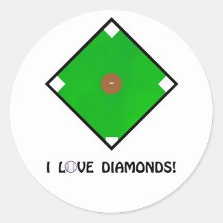 """I Love Diamonds"" Baseball Shirts and Gifts Classic Round Sticker"
