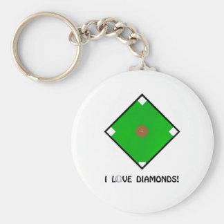 """I Love Diamonds"" Baseball Shirts and Gifts Keychain"