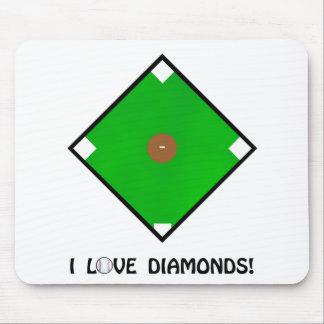 """I Love Diamonds"" Baseball Shirts and Gifts Mouse Pad"