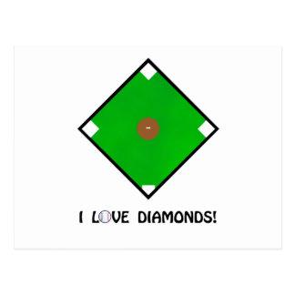 """""""I Love Diamonds"""" Baseball Shirts and Gifts Postcard"""
