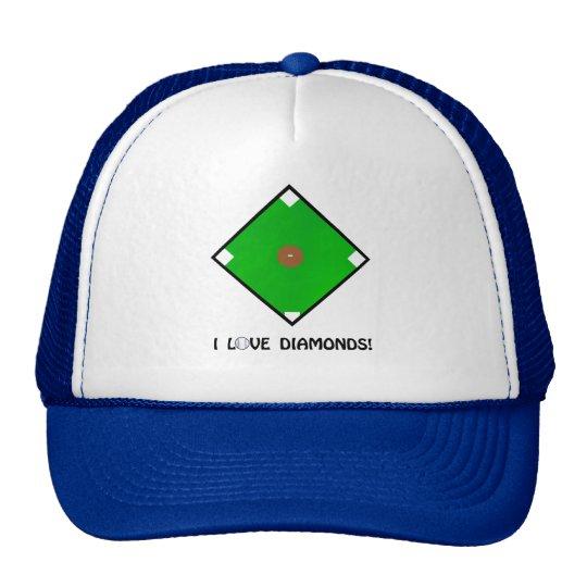 """I Love Diamonds"" Baseball Shirts and Gifts Trucker Hat"