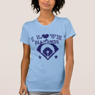 I Love Diamonds Baseball Tee Shirt