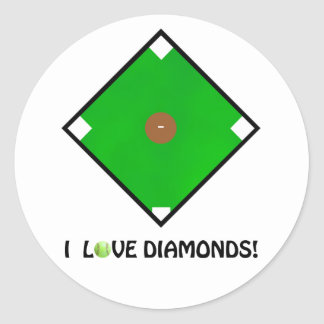 """I Love Diamonds!"" Softball Shirts & Gifts Classic Round Sticker"