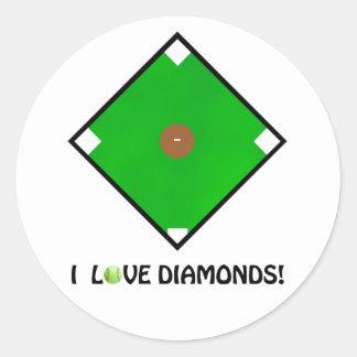 """I Love Diamonds!"" Softball Shirts & Gifts Round Stickers"