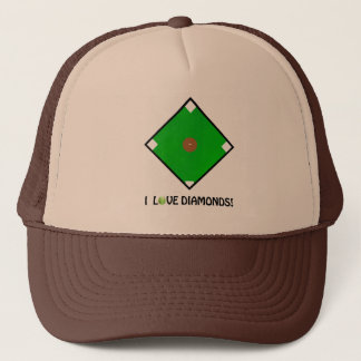 """I Love Diamonds!"" Softball Shirts & Gifts Trucker Hat"